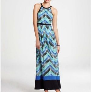 Size 4 Ann Taylor teal blue chevron maxi dress